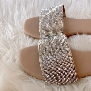 Fancy Nude Rhinestone Slide Sandals